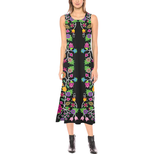 Floral Beadwork Phaedra Sleeveless Open Fork Long Dress (Model D08) Phaedra Sleeveless Open Fork Long Dress (D08) e-joyer