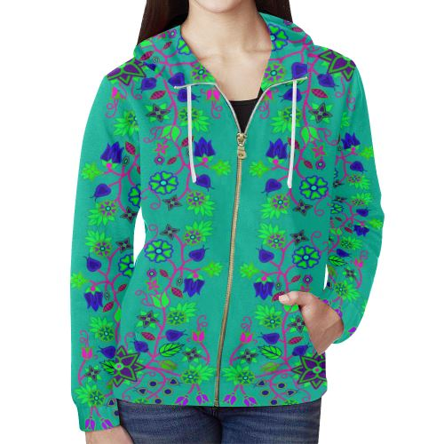 Floral Beadwork Seven Clans Deep Lake All Over Print Full Zip Hoodie for Women (Model H14) All Over Print Full Zip Hoodie for Women (H14) e-joyer