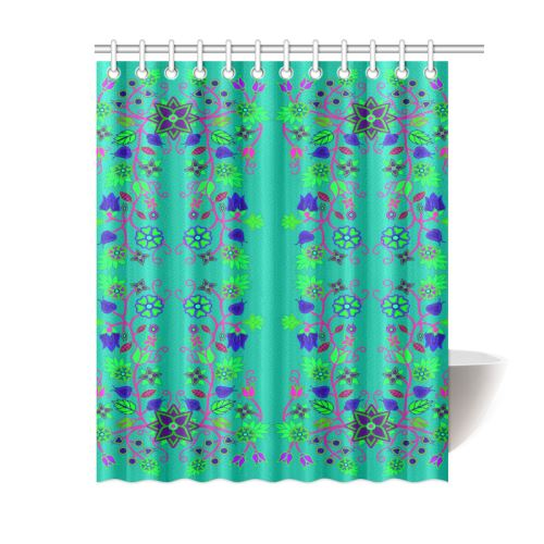 Floral Beadwork Seven Clans Deep Lake Shower Curtain 60