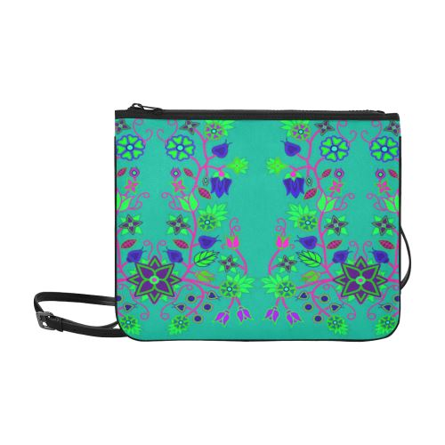 Floral Beadwork Seven Clans Deep Lake Slim Clutch Bag (Model 1668) Slim Clutch Bags (1668) e-joyer