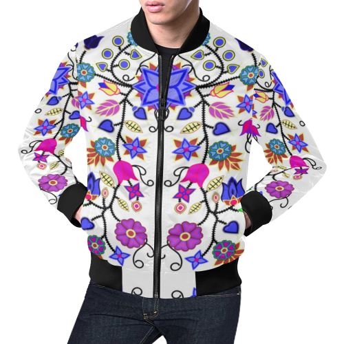 Floral Beadwork Seven Clans White All Over Print Bomber Jacket for Men/Large Size (Model H19) All Over Print Bomber Jacket for Men/Large (H19) e-joyer