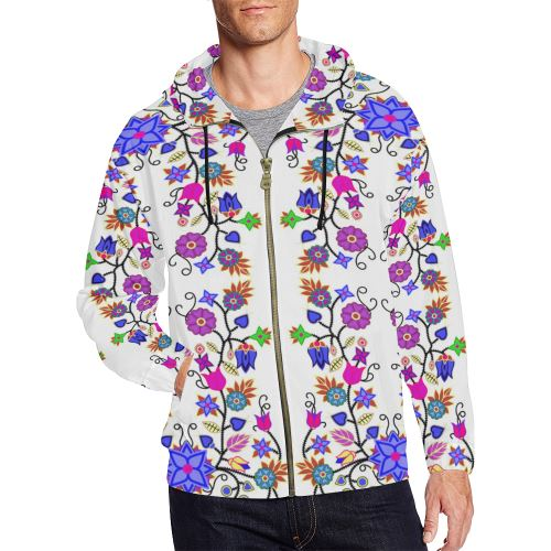 Floral Beadwork Seven Clans White All Over Print Full Zip Hoodie for Men/Large Size (Model H14) All Over Print Full Zip Hoodie for Men/Large (H14) e-joyer