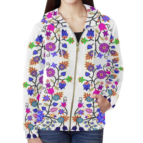 Floral Beadwork Seven Clans White All Over Print Full Zip Hoodie for Women (Model H14) All Over Print Full Zip Hoodie for Women (H14) e-joyer