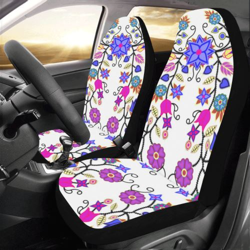Floral Beadwork Seven Clans White Car Seat Covers (Set of 2) Car Seat Covers e-joyer