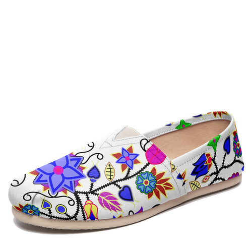 Floral Beadwork Seven Clans White Casual Unisex Slip On Shoe Herman