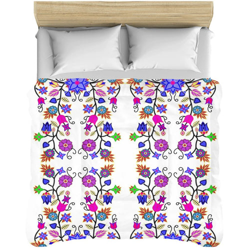 Floral Beadwork Seven Clans White Comforters 49 Dzine 88x104 inch - King Size