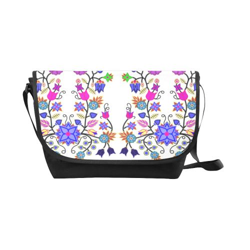 Floral Beadwork Seven Clans White New Messenger Bag (Model 1667) New Messenger Bags (1667) e-joyer