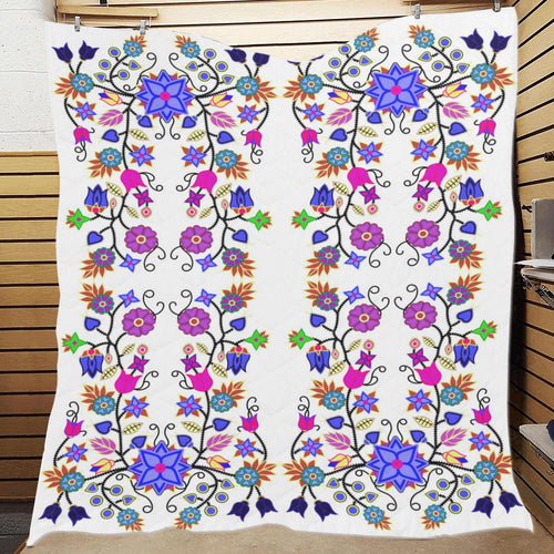 Floral Beadwork Seven Clans White Quilt 70