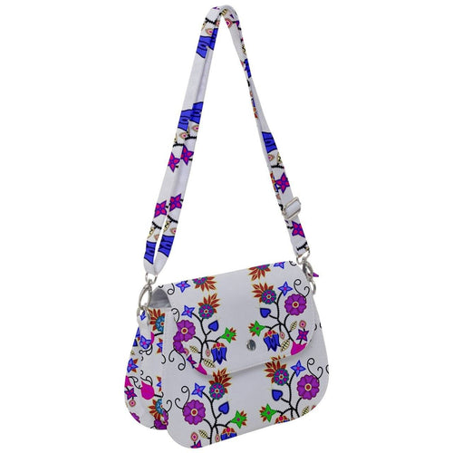 Floral Beadwork Seven Clans White Saddle Handbag cross-body-handbags 49 Dzine