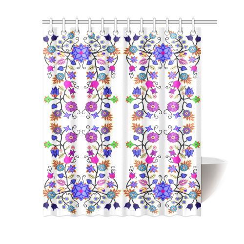 Floral Beadwork Seven Clans White Shower Curtain 60