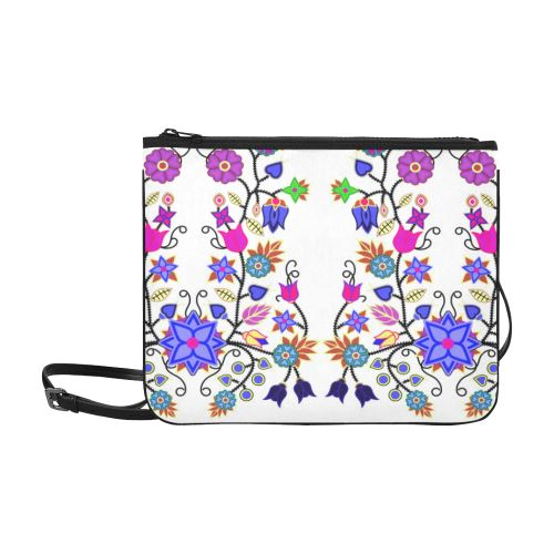 Floral Beadwork Seven Clans White Slim Clutch Bag (Model 1668) Slim Clutch Bags (1668) e-joyer