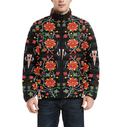 Floral Beadwork Six Bands Men's Stand Collar Padded Jacket (Model H41) Men's Stand Collar Padded Jacket (H41) e-joyer