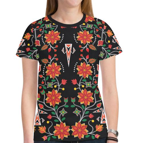 Floral Beadwork Six Bands New All Over Print T-shirt for Women (Model T45) New All Over Print T-shirt for Women (T45) e-joyer