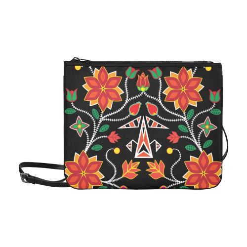 Floral Beadwork Six Bands Slim Clutch Bag (Model 1668) Slim Clutch Bags (1668) e-joyer