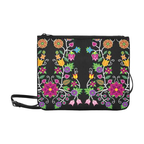 Floral Beadwork Slim Clutch Bag (Model 1668) Slim Clutch Bags (1668) e-joyer