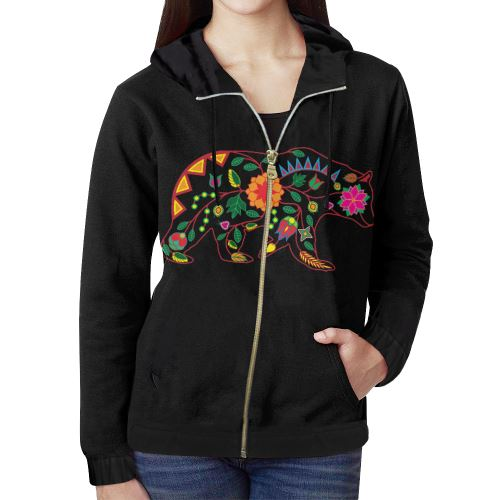 Floral Bear All Over Print Full Zip Hoodie for Women (Model H14) All Over Print Full Zip Hoodie for Women (H14) e-joyer