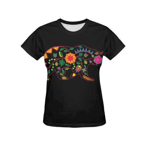 Floral Bear All Over Print T-shirt for Women/Large Size (USA Size) (Model T40) All Over Print T-Shirt for Women/Large (T40) e-joyer