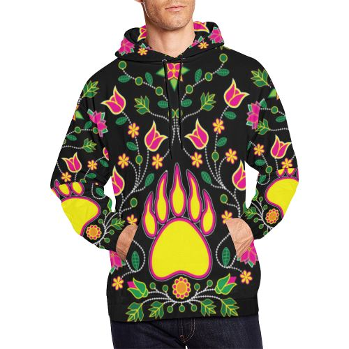 Floral Bearpaw All Over Print Hoodie for Men (USA Size) (Model H13) All Over Print Hoodie for Men (H13) e-joyer