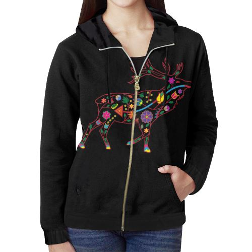 Floral Elk All Over Print Full Zip Hoodie for Women (Model H14) All Over Print Full Zip Hoodie for Women (H14) e-joyer