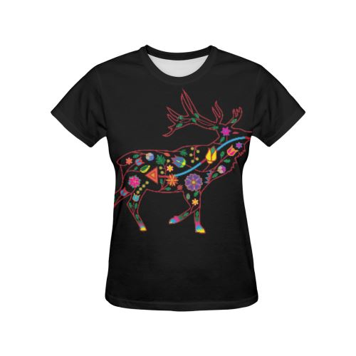 Floral Elk All Over Print T-shirt for Women/Large Size (USA Size) (Model T40) All Over Print T-Shirt for Women/Large (T40) e-joyer