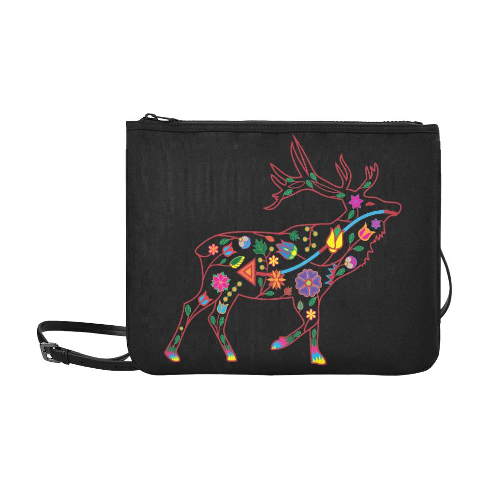 Floral Elk Slim Clutch Bag (Model 1668) Slim Clutch Bags (1668) e-joyer