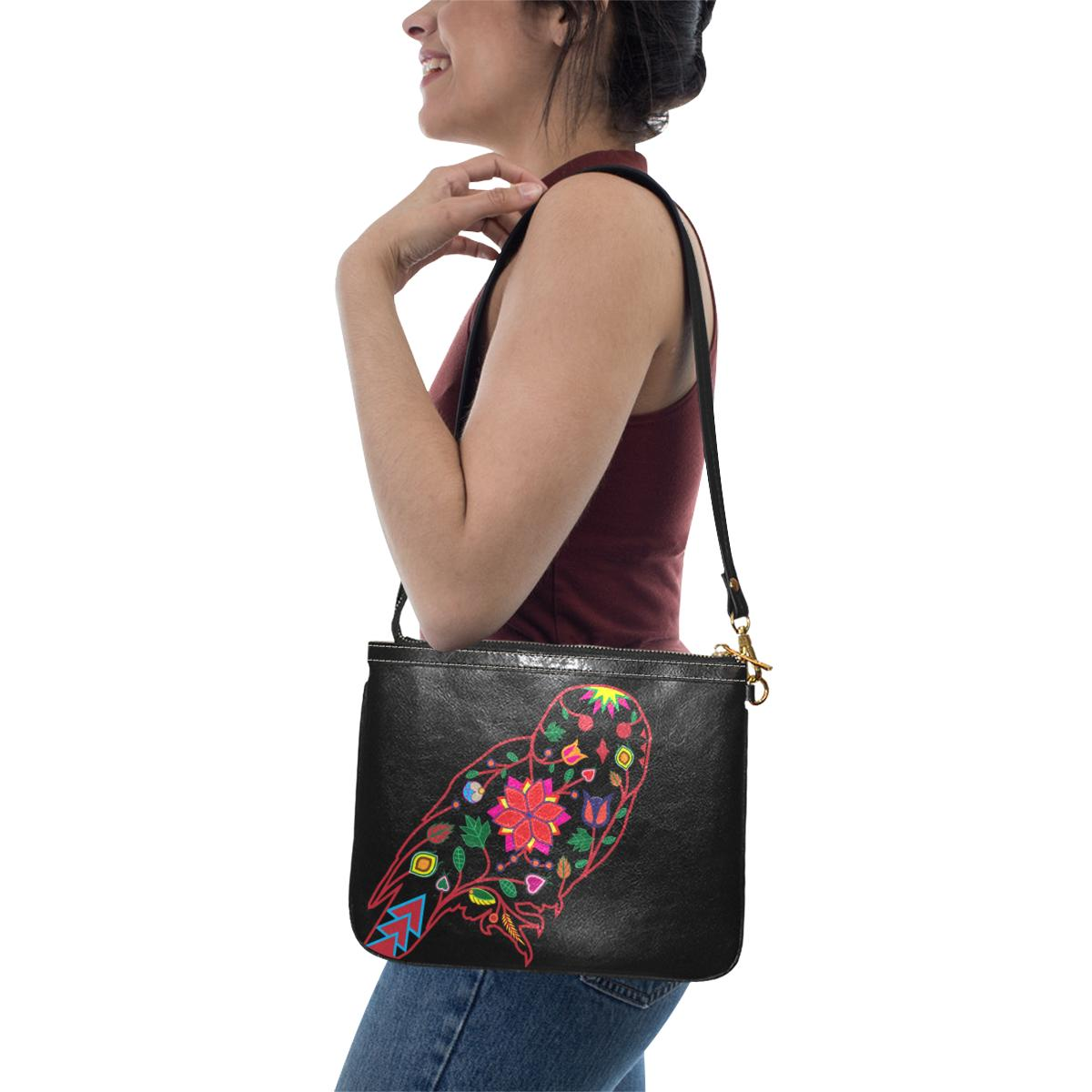 Floral Owl Small Shoulder Bag (Model 1710) Small Shoulder Bag (1710) e-joyer