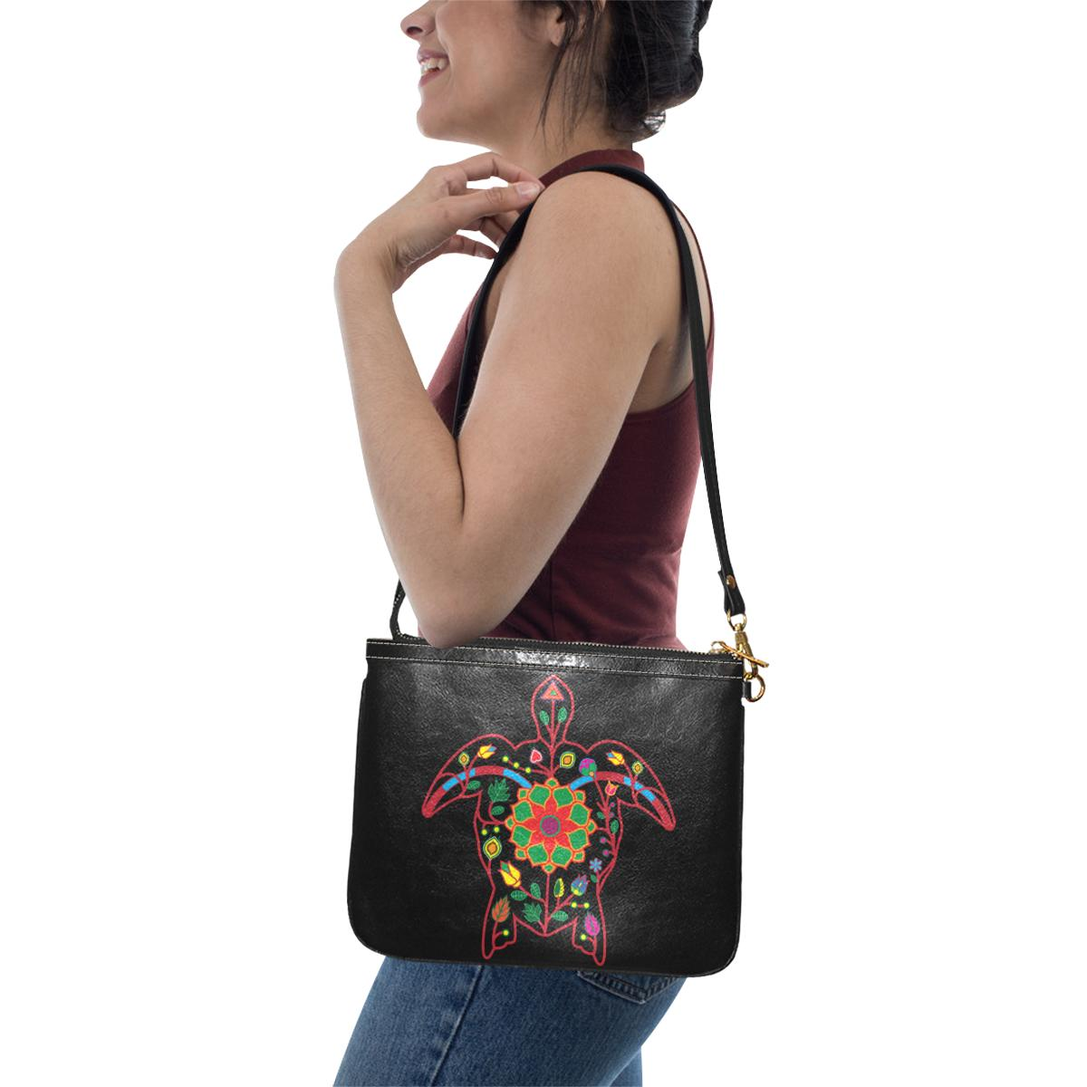 Floral Turtle Small Shoulder Bag (Model 1710) Small Shoulder Bag (1710) e-joyer
