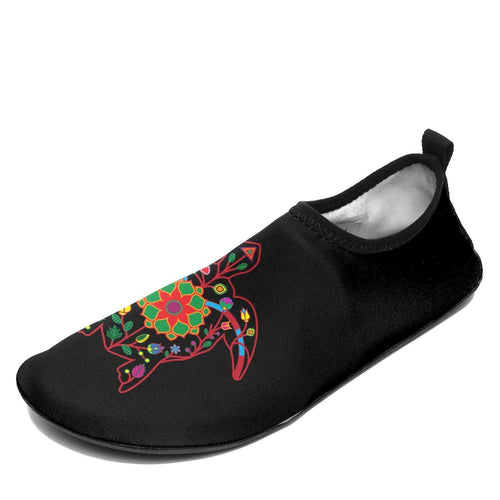 Floral Turtle Sockamoccs Kid's Slip On Shoes 49 Dzine