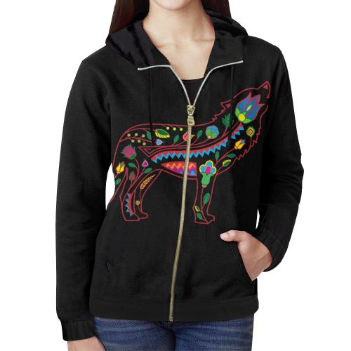 Floral Wolf All Over Print Full Zip Hoodie for Women (Model H14) All Over Print Full Zip Hoodie for Women (H14) e-joyer