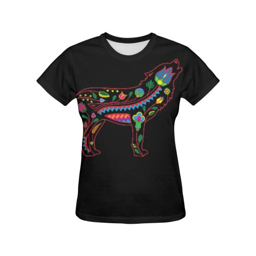 Floral Wolf All Over Print T-shirt for Women/Large Size (USA Size) (Model T40) All Over Print T-Shirt for Women/Large (T40) e-joyer