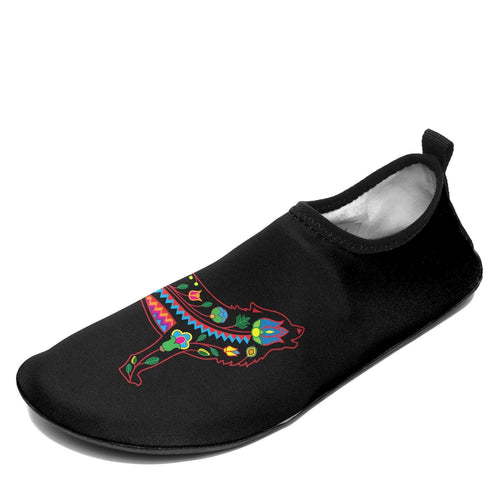 Floral Wolf Sockamoccs Kid's Slip On Shoes 49 Dzine