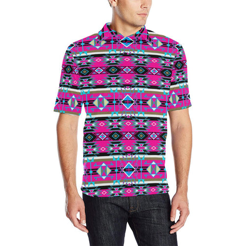 Force of Nature Sunset Storm Men's All Over Print Polo Shirt (Model T55) Men's Polo Shirt (Model T55) e-joyer