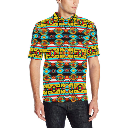 Force of Nature Twister Men's All Over Print Polo Shirt (Model T55) Men's Polo Shirt (Model T55) e-joyer