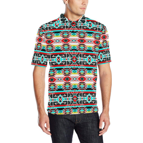 Force of Nature Windstorm Men's All Over Print Polo Shirt (Model T55) Men's Polo Shirt (Model T55) e-joyer