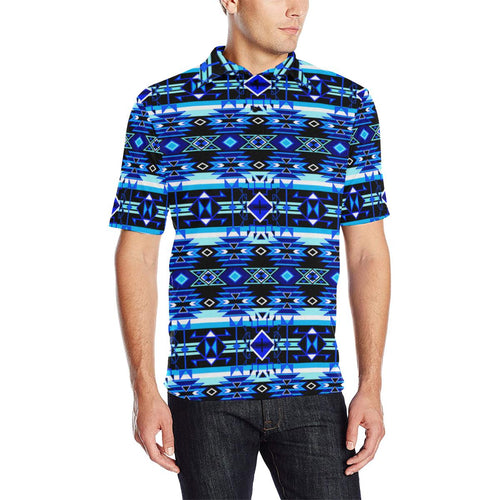 Force of Nature Winter Night Men's All Over Print Polo Shirt (Model T55) Men's Polo Shirt (Model T55) e-joyer