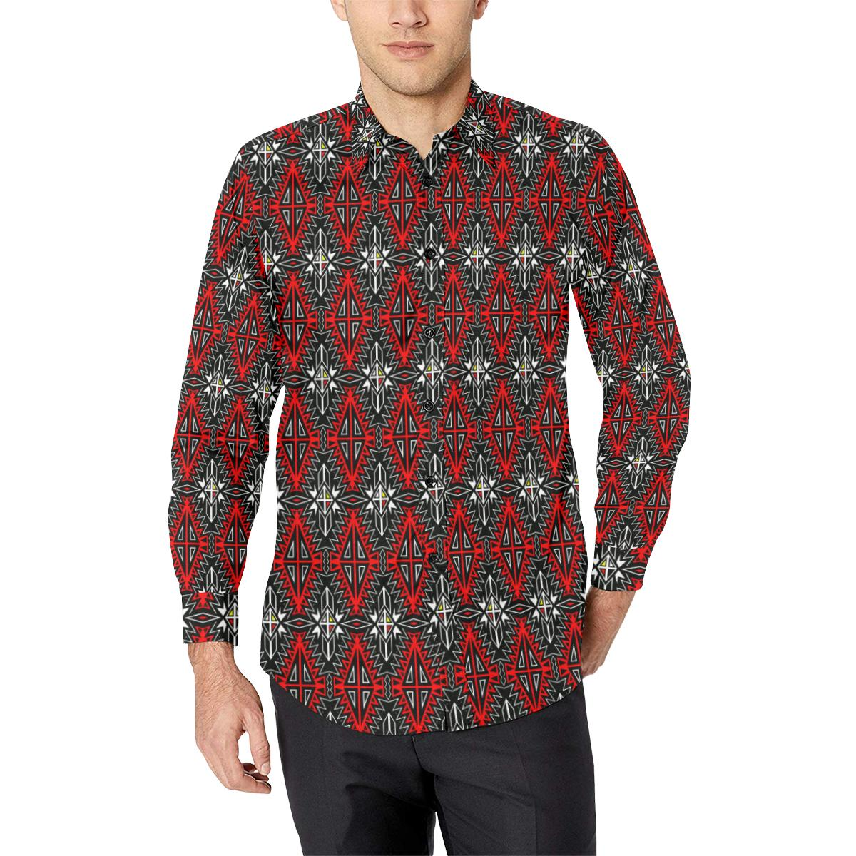 Four Directions Men's All Over Print Casual Dress Shirt (Model T61) Men's Dress Shirt (T61) e-joyer