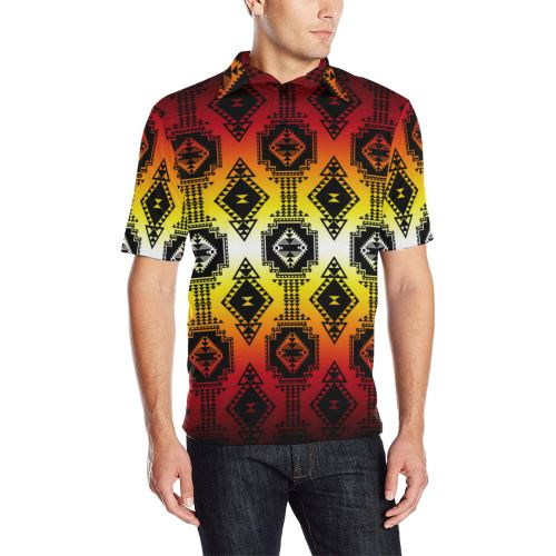Gathering Fire Men's All Over Print Polo Shirt (Model T55) Men's Polo Shirt (Model T55) e-joyer