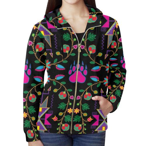 Geometric Floral Fall-Black All Over Print Full Zip Hoodie for Women (Model H14) All Over Print Full Zip Hoodie for Women (H14) e-joyer