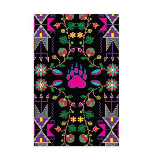 Geometric Floral Fall - Black Dish Towel 49 Dzine 16x25 inch