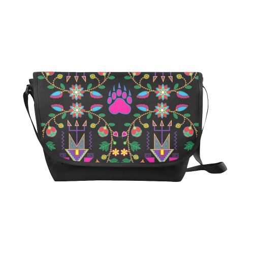 Geometric Floral Fall-Black New Messenger Bag (Model 1667) New Messenger Bags (1667) e-joyer