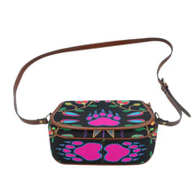 Geometric Floral Fall - Black Saddle Bag/Small (Model 1649) Full Customization Saddle Bag/Small (Full Customization) e-joyer