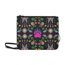 Geometric Floral Fall-Black Slim Clutch Bag (Model 1668) Slim Clutch Bags (1668) e-joyer