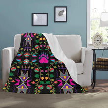"Geometric Floral Fall - Black Ultra-Soft Micro Fleece Blanket 50""x60"" Ultra-Soft Blanket 50''x60'' e-joyer"