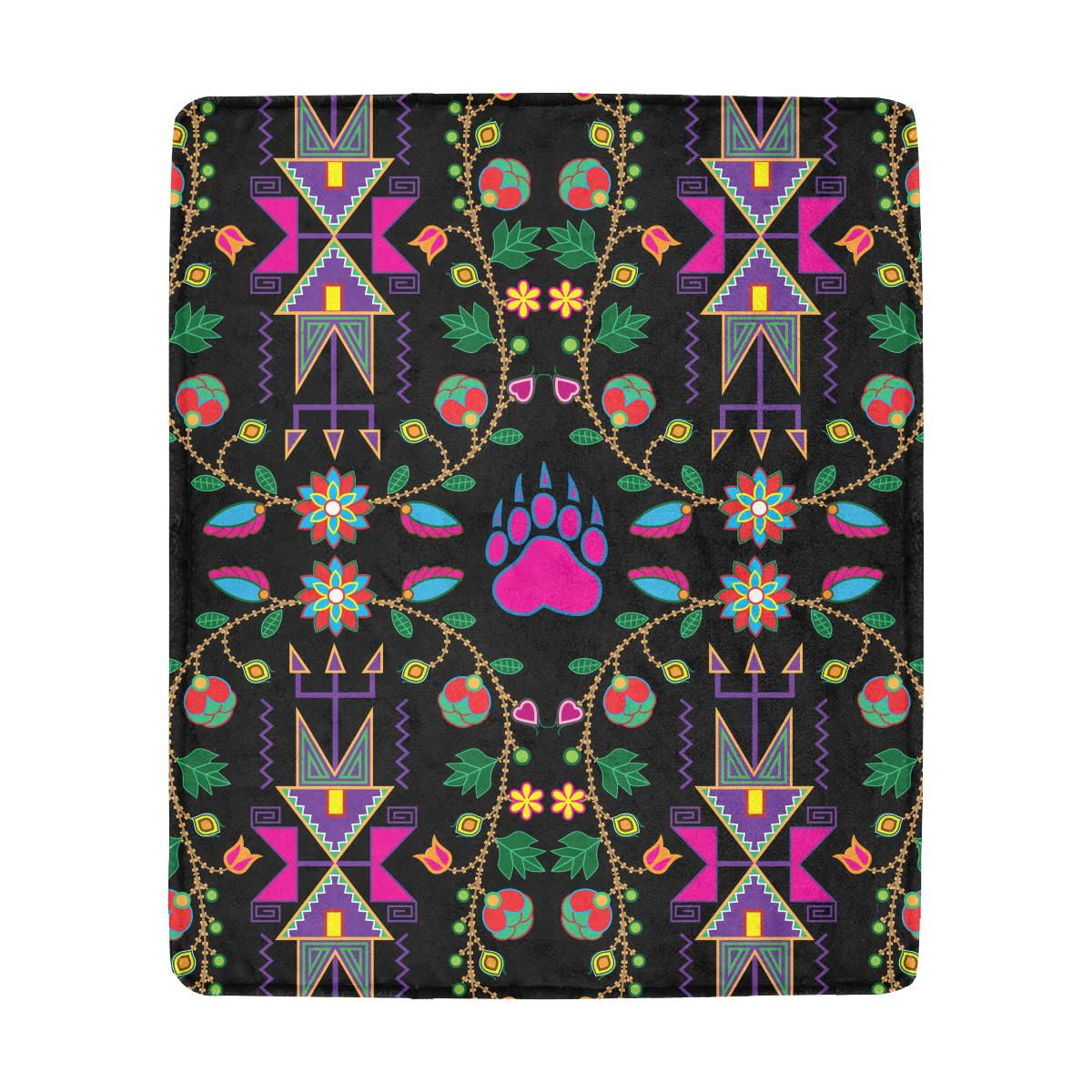 Geometric Floral Fall - Black Ultra-Soft Micro Fleece Blanket 50