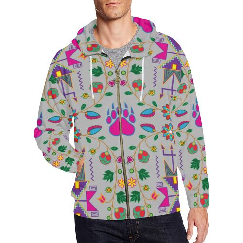 Geometric Floral Fall-Gray All Over Print Full Zip Hoodie for Men/Large Size (Model H14) All Over Print Full Zip Hoodie for Men/Large (H14) e-joyer
