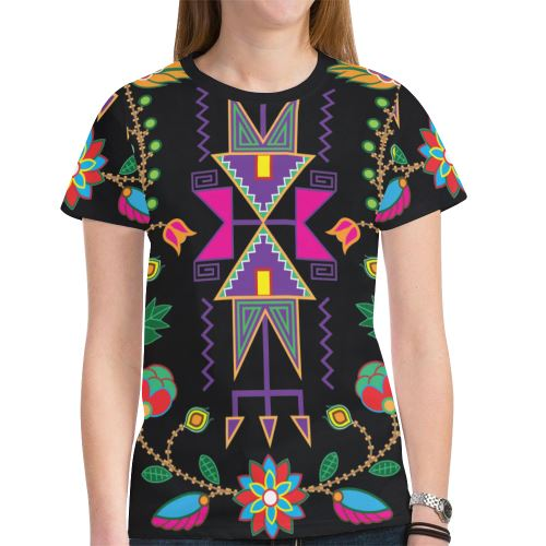 Geometric Floral Fall New All Over Print T-shirt for Women (Model T45) New All Over Print T-shirt for Women (T45) e-joyer