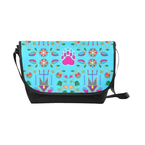 Geometric Floral Fall-Sky Blue New Messenger Bag (Model 1667) New Messenger Bags (1667) e-joyer
