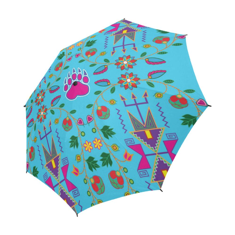 Geometric Floral Fall-Sky Blue Semi-Automatic Foldable Umbrella Semi-Automatic Foldable Umbrella e-joyer