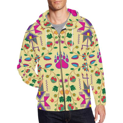 Geometric Floral Fall-Vanilla All Over Print Full Zip Hoodie for Men/Large Size (Model H14) All Over Print Full Zip Hoodie for Men/Large (H14) e-joyer
