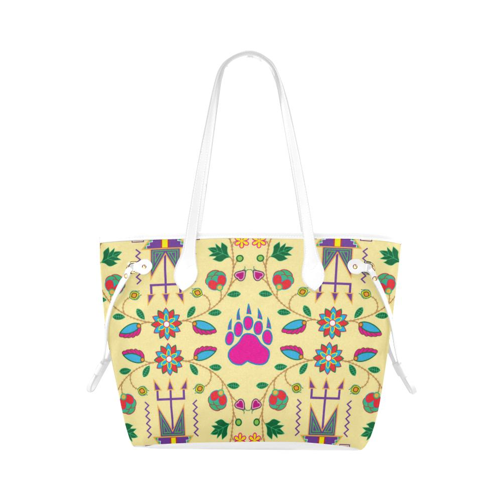 Geometric Floral Fall - Vanilla Clover Canvas Tote Bag (Model 1661) Clover Canvas Tote Bag (1661) e-joyer